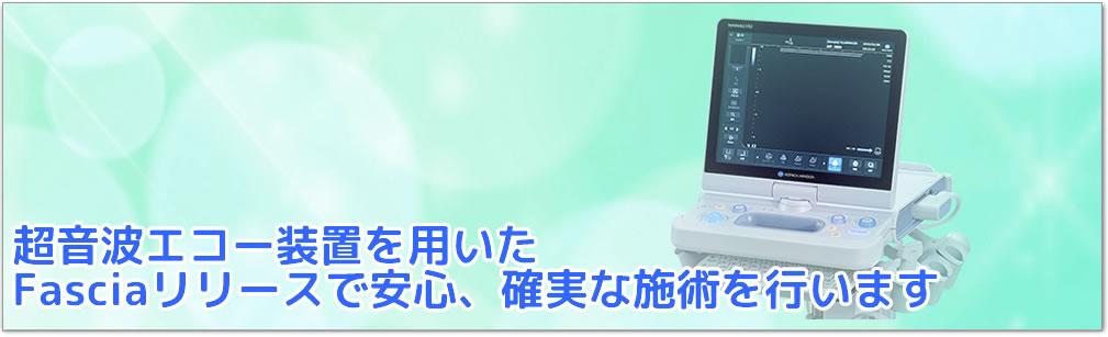 """超音波エコー装置""""HS-1""""を用いた Fasciaリリースで安心、確実な施術を行います。"""